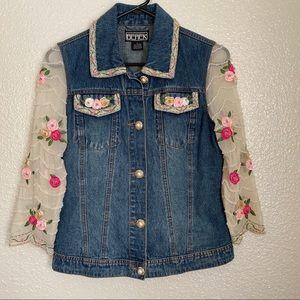 [Berek] Floral & Beaded Pearl Denim Coat